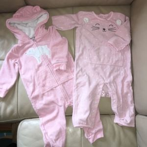 9-12m Girl Footless Fleece Jumpsuit Bundle